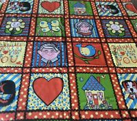 Novelty Fabric Curtain Panel Joyce Miller Gramma Colorful Sears Circa 1960s VTG