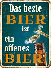Das beste Bier ist ein offenes Bier ! Blechschild 30x40 cm   303/170
