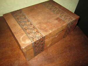 An old Victorian inlaid wooden writing slope dated 1889