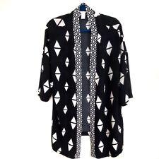 H&M Black & White Geo Print Open Front Flowing Kimono Size Small