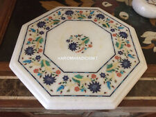 """12"""" White Marble Modern Interior Furniture Coffee Table Top Floral Inlaid H4370"""