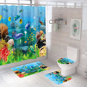 Sea World Shower Curtain Set Bathroom Rugs Non-Slip Toilet Lid Cover Bath Mat
