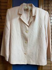 Talbots Silk Linen Blend Three Button Lined Blazer Size 14~soft/light Pink