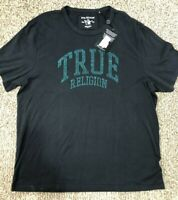 True Religion Men's SZ 2XL Rhinestones Logo Tee T-Shirt 102880 Black MSRP $79+