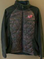 NEW BALANCE Women's Fleece Quilted Full Zip Jacket, Pink/Black (MEDIUM)