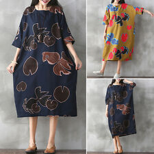 Zanzea AU 10-24 Women Oversized Vintage Floral Printed Cotton Linen Dress Kaftan
