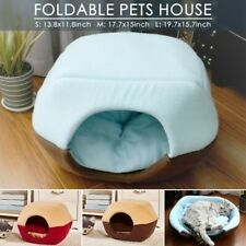 Pet Tent Cave Bed for Cats/Small Dogs, 2-in-1 Foldable Cat House for Pets Dogs