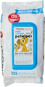 Petkin Mega Value Pet wipes- Pack of 125 wipes for Dogs and Cats