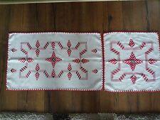 2 Zier Deckchen orientalisch  -echte Handarbeit 41x68cm &41x41cm