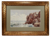 FINE ANTIQUE LANDSCAPE SEASCAPE WATERCOLOR PAINTING FREDERIC MARLETT BELL-SMITH