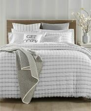 CHARTER CLUB SEERSUCKER WHITE GREY TWIN COMFORTER SHAM SET NEW