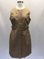 JCREW $138 Petite Zip Front Belted Sleeveless Dress Khaki Tan 10P G3781