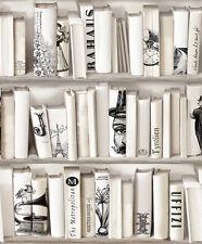 Encyclopedia creme Bücherschrank Tapete neutrale Bücherregal PARIS 572217