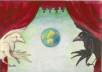 ACEO PRINT OF PAINTING RYTA CROW RAVEN FANTASY GOTHIC ART SURREALISM WORLD STAGE