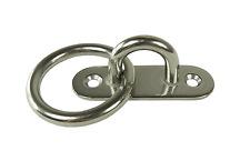 Edelstahl Augplatte, schmal mit Ring,  D8 80x26 mm, Decksauge mit Öse, Auge V2A