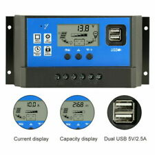 Solar Charge Controller 10A 20A 30A Battery Regulator 12V/24V Auto Dual USB LCD