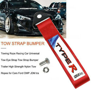 Red TYPER Racing High Strength Universal Nylon Car Trailer Tow Ropes Strap Tow