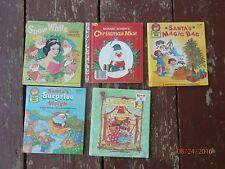 lot of 5 story books,snow white,circus,santa