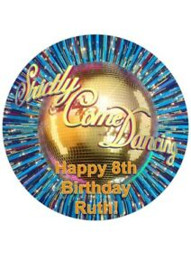 PERSONALISED 7.5 INCH ROUND STRICTLY COME DANCING ICING / RICE PAPER CAKE TOPPER