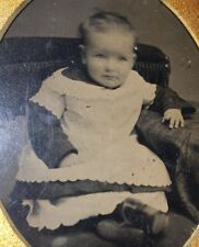 1/4 plate Tintype Baby Cirl Shoes Dress Pose Chair