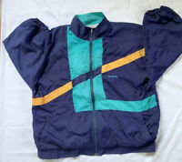 Vintage Reebok Windbreaker Full Zip Jacket XL Navy Yellow Green