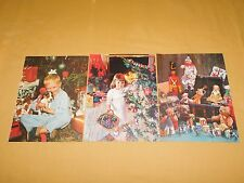 """VINTAGE 3   11"""" X 8 1/2' OLD TIME CHRISTMAS TOYS LITTLE GIRL BOY PUPPY PICTURES"""