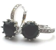 FH Silver (white gold gf) French hoop round black onyx sim diamond earring BOXD