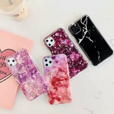 For iPhone 12 11 Pro XS Max XR X 8 7 Plus Phone Cases Purple Marble Glossy Skins
