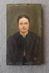 Leonardo Bistolfi, piccolo ritratto ad olio di giovane donna su tavoletta, '900