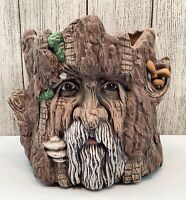 🔴 Vintage Gnome Old Man Character Face on Tree Trunk Stump Ceramic Planter