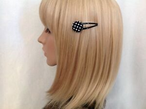 Black white polka dot fabric button hair snap clip rockabilly pin up girl retro