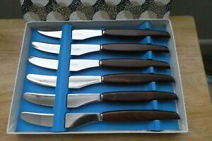 Boxed Set 6 Vintage/Mid Century Glosswood Teak, Stainless Steel Dinner Knives?