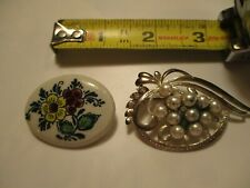 New listing Vintage Delft HOLLAND Porcelain Oval Floral Design Pin & B.S.K. Faux Pearl Pin
