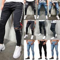 Men Ripped Biker Skinny Jeans Pants Casual Slim Fit Jogger Denim Summer Trousers