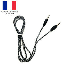 CABLE PRISE JACK AUDIO-STÉRÉO 3.5 MM / AUXILIAIRE AUDIO / NOIR ET BLANC / 1M