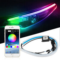 60CM Car Styling RGB Sequential LED Light Strip APP BT Control for Headlight