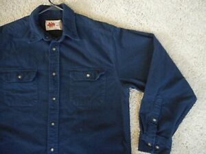 Solid Navy Blue Flannel Shirt Mens Large 100% Cotton Field N Forest Long Sleeve