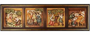 Painting Embossed 4 Seasons with Frame - Wood Carved Relief Icon
