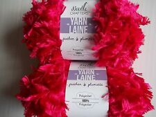 Needle Crafters Feather Boa fashion yarn, Really Red, lot of 2 (53 yds each)