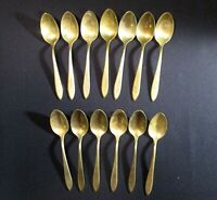 Vintage Dirigold Dirilyte Goldware Regal Flatware Silverware Teaspoon Lot of 13