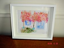 Watercolour signed in contemporary white frame