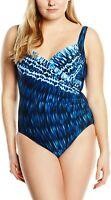 Miraclesuit Women's Indigo-Go Sanibel One-Piece Blue Swimsuit 16 Slim Swim Plus