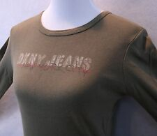 DKNY Jeans Long Sleeve Olive Green Cotton Tee Shirt w/ NYC Graphic SZ M EUC
