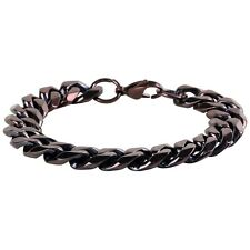 Men's Chunky Curb Bracelet in Chocolate Brown Finish Stainless Steel