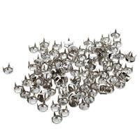 5X(100x 6mm Nieten Ziernieten Metall DIY Rundnieten Kegelnieten Silber Farbe QP