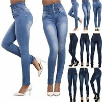 Women Casual Denim Skinny Jeans Pants High Waist Stretch Jeans Pencil Trousers