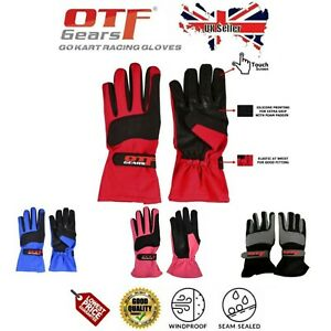 Go Kart Racing Gloves-OMARA & POLYESTER-Touch feature -Black-Red-Blue-Pink