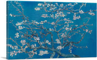 Branches with Almond Blossom Blue Rectangle Canvas Art Print Vincent Van Gogh