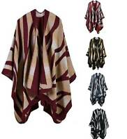 Celeb Women Knitted Autumn Winter Poncho Blanket Wrap Shawl Cape Thick Warm Hot