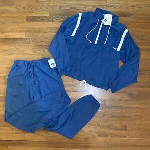 VTG 90s Russell Athletic Track Suit Windbreaker Jacket & Pants Blue Size Medium